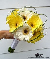 yellow wedding gerbera daisies, flowers, bouquet