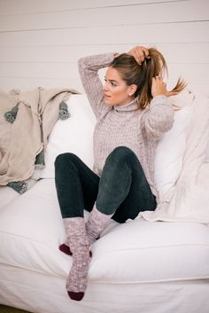 Gal Meets Glam Cozy At Home For The Holidays - Express sweater, pants, scarf & socks c/o