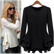 Definite fall staple- Fashion O Neck Long Sleeve Black Cotton Blouse