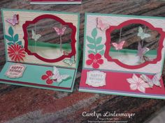 Using the Deco Labels Framelits - Carolyn's Card Creations: More Suspended Butterfly Easel Cards