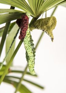 #felting #chrysalis #ButterflyRainforest #wirecrochet #artinstallation #studiodeanna #fiberart #CairnsBotanicGarden #crochet #fibreart #coloredcopperwire #firemtngems #crochetwire
