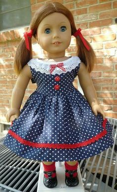 This dress has been newly made to fit 18 dolls such as American Girl, Gotz, Madame Alexander, Battat and more. This dress was made from a navy American Girl Molly, American Girl Dress, American Doll Clothes, Baby Doll Clothes, Doll Clothes Patterns, Clothing Patterns, Doll Patterns, Barbie, Kids Frocks