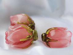 Handmade Floral Lampwork Beads SRA  Pink by JewelryBeadsByKatie