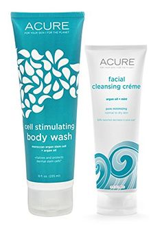 Acure Organics All Natural Argan Oil and Mint Face Wash Cleanser and Cell Stimulating Natural Body Wash Bundle ** Continue to the product at the image link.