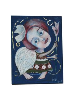 Folk art painting, angel painting, Folk Art, Primitives, abstract angel, art for sale, naive, Modern folk art, art Artist Mariya Chimeva