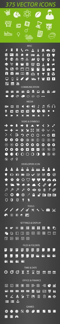 375 Retina-Display-Ready Icons, AI, EPS, Free, Graphic Design, Icon, Resource, Retina, Vector