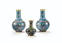A PAIR OF CLOISONNÉ ENAMELS VASE WITH A SMALLER ONE, LATE QING DYNASTY