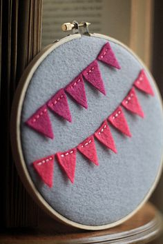 Embroidery Hoop Art, Mini Felt Party Bunting, Pink and Ruby Red Felt Wall Decor by Catshy Crafts