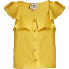 Sea Lola scoop-neck sleeveless linen top featuring polyvore women's fashion clothing tops blouses yellow sea frilly blouse sleeveless ruffle blouse scoop neck top ruffle top yellow ruffle blouse