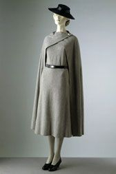 Day dress and cape  Madeleine Vionnet (1876-1975)  About 1933  Paris  Woollen jersey, cape fastened with chrome clips, and leather belt