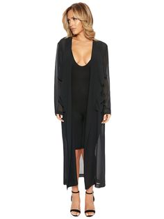 The+NW+Sheer+Midi+Duster+-+You'll+be+stopping+the+clocks+when+you+look+this+timeless!++This+gorg,+lightweight+sheer+trench+style+features+an+airy+soft+fabric+throughout+with+a+long+semi+loose+fit.+Long+sleeves+with+an+open+cascading+front+and+side+pockets+and+hits+above+your+ankles.++An+easy+option+to+add+a+touch+of+class+to+finish+off+any+ensemble.+LA+LA+LOVE.+++Made+in+USA +100%+Polyester +Model+is+wearing+size+Small +Runs+true+to+size