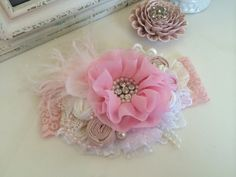 Toddler Headband-Baby Girl Headband-Baby Headband-Flower Girl Headband-Pink Headband-Photo Prop