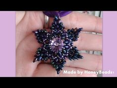 Superduo (Daffodil) Flower Pendant Beading Tutorial by HoneyBeads1 (with superduo beads) - YouTube