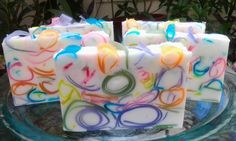 "Fiesta Bar . . . colorful swirls of glycerin soap in buttermilk adorn this ""Party"" bar.  Available at Etsy and www.emsoaps.com"