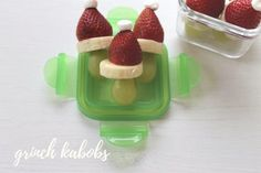 These super easy snacks are perfect for a classroom holiday party! Lunch Snacks, Easy Snacks, Easy Meals, Easy Holiday Recipes, Easy Recipes, Grinch Kabobs, Raspberry, Strawberry, Holiday Parties