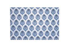 Herringbone Flower Blue Paper Placemats