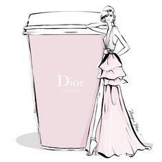 "6,819 Likes, 48 Comments - Megan Hess (@meganhess_official) on Instagram: ""Monday coffee in chic DIOR pale pink..."""