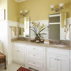 Master Bathroom Decorating Design: Create the Look of Furniture - 65 Calming Bathroom Retreats - Southern Living Bathroom Renovation, Bathroom Styling, Bathroom Design, Yellow Bathrooms, Home, Master Bathroom Design, Master Bathroom Decor, Bathroom Vanity Decor, Cottage Style Bathrooms