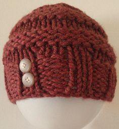 Items similar to Knit Toddler Hat, Burnt Orange Knit Hat with Button Trim, Knit Banded Hat, Knit Pumpkin Spice Hat on Etsy Slouchy Hat, Beanie, Knit Crochet, Crochet Hats, Baby Knits, Fashion Wear, Hats For Men, Burnt Orange, Pumpkin Spice