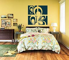 Paisley Floral Frame Squares Set of 4 Vinyl Wall Decal Sticker Graphic