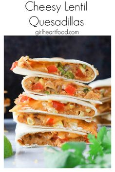{ Delicious and easy Cheesy Lentil Quesadillas made with red lentils, corn, bell pepper and cheddar cheese. Healthy Dinner Recipes, Whole Food Recipes, Vegetarian Recipes, Cooking Recipes, Red Lentil Recipes Easy, Vegetarian Mexican, Frugal Recipes, Skillet Recipes, Vegetarian Dinners