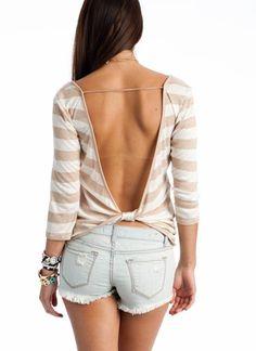 striped open back shirt <3