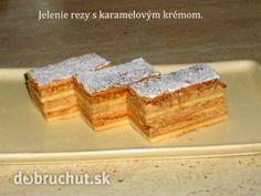 Jelenie rezy s karamelovým krémom Russian Recipes, Sweet Recipes, Cheesecake, Cooking, Polish, Coffee, Basket, Kitchen, Kaffee