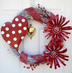 Valentines Wreath with Can Flowers by CustomCreated on Etsy, $75.00