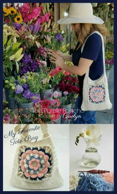 This Tote Bag features a modern flower granny square focal point, with texture provided by simple stitching for the body. Make it your own with surface crochet and custom colors. Find it @ThePurplePoncho www.thepurpleponcho.com #crochet #grannysquare #pur