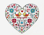 Ornamental Heart with birds and flowers cross stitch pattern needlepoint