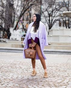 "@wendyslookbook shared a photo on Instagram: ""Sneakers? What are those?! 🤣 Casual winter in lavender and chestnut 🌰 Restyling with my favorites @anntaylor coat, @senreve bag,…"" • Jan 19, 2021 at 2:15am UTC Mint Sweater, Color Block Sweater, Slouchy Sweater, Wendy's Lookbook, Classy Work Outfits, Patent Leather Boots, Sequin Jacket, Sequin Skirt, Boucle Jacket"