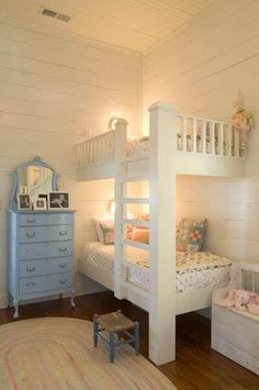Built in bunk beds. bunk beds built in, girls bunk beds, girls bedroom Bunk Beds Built In, Kids Bunk Beds, Bunk Beds For Girls Room, White Bunk Beds, Loft Beds, Girls Bedroom, Bedroom Ideas, Master Bedroom, Bedroom Makeovers