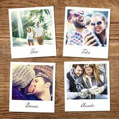 Découvrez cette magnifique carte de voeux polaroid avec son joli fond boisé. Simple et élégante, vous pouvez y intégrer vos meilleures photos de l'année et souhaiter une très belle année à tous ceux que vous aimez.