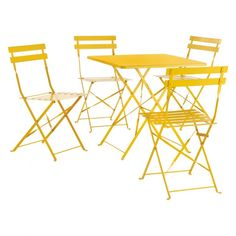Alice\'s Garden Salon de jardin bistrot pliable - Emilia rond jaune ...