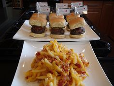 Broiled Hamburger Sliders and Loaded Fries