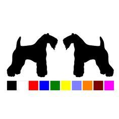 HotMeiNi car stickers15cm 2 Kerry Blue Terrier dog breed home car windows silhouette vinyl Animal Pattern car tail Black/Silver