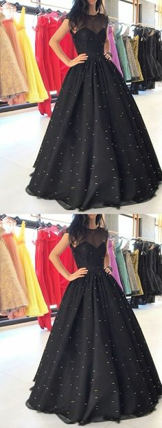 Vintage Ball Gown Round Neck Tulle and Satin Black Long Prom Dresses Evening Party Dresses with Beading Black Evening Dresses, Black Prom Dresses, Homecoming Dresses, Evening Gowns, Evening Party, Black Gowns, Dresses Short, Trendy Dresses, Nice Dresses