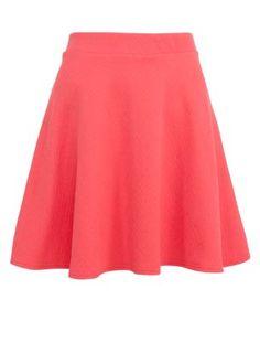 Coral Aztec Textured Skater Skirt
