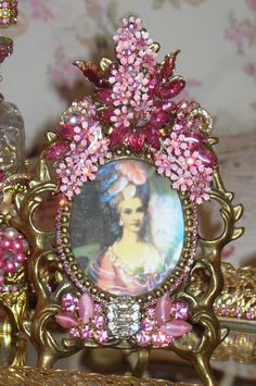 Beautiful Bejeweled Frame Special Custom Order From The Collection By Debbie Del Rosario-Weiss, Juliana,brush, comb, vintage, Clock,tray, mirror, perfume, antique, vintage, victorian, Sparkle,