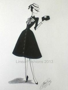 Fashion Illustration 1950s Nautical Dress by LinearFashions, $42.00