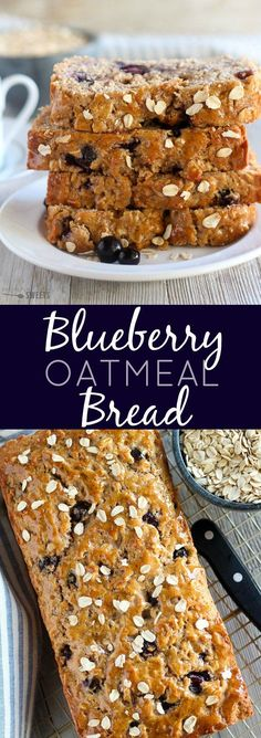 Oatmeal Bread - Whole grain oatmeal quick bread filled with fresh blueberries. A wholesome breakfast, snack or dessert.Blueberry Oatmeal Bread - Whole grain oatmeal quick bread filled with fresh blueberries. A wholesome breakfast, snack or dessert. Breakfast Bread Recipes, Quick Bread Recipes, Breakfast Snacks, Savory Breakfast, Baking Recipes, Whole Grain Quick Bread Recipe, Recipes With Quick Oats, Breakfast Ideas, Whole Grain Foods