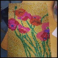 Mardi Gras bead project I did as an example for my art 2 class #beadart #mardigrasbeads