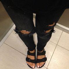 2 of my addictions... Ripped jeans  + Birkenstocks   @Netanya Simpson, it's my daily wardrobe