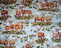 Deer Buck Doe Cotton Quilting Fabric  by NewEnglandQuilter on Etsy, $5.00