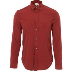 Maison Margiela Red Overdye Shirt ($255) ❤ liked on Polyvore featuring men's fashion, men's clothing, men's shirts, men's casual shirts, mens red shirt, mens cotton shirts and mens collared shirts