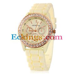 Women's Diamante Round Dial Silicone Band Quartz Analog Wrist Watch : Online Shopping for Watches, Toys & more
