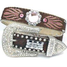BHW Western FLOWER Concho Wings Crystal Hair On Hide Leather Bling Pink belt
