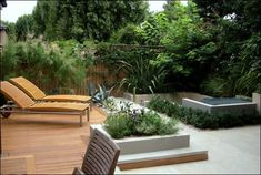Modern wooden deck with beautiful garden
