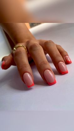 Simple Acrylic Nails, Best Acrylic Nails, Simple Nails, Short Square Acrylic Nails, Cute Gel Nails, Funky Nails, Gel Nails With Tips, Red Gel Nails, Gel Nail Tips