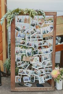 Wedding photo display idea. #wedding #decoration